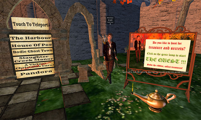 The start of The Quest at Camelot village on Lingnan Drama Island in Second Life
